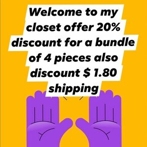 offer20%discount for a bundle of4piec$1.80shipping